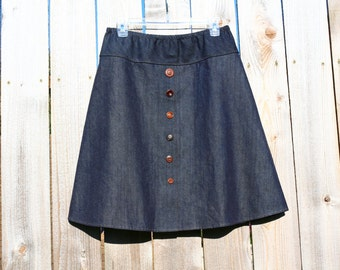 VeRy dArK DeNiM viNTaGe BuTtOn sKiRt, A Line Skirt, Jean Skirt, Custom made in all lengths and sizes Petit to Plus