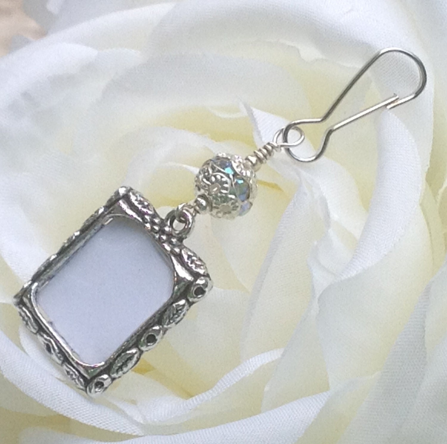 wedding bouquet photo charm sparkly bridal by smilingbluedog