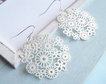 Large Statement Earrings - Silver Lace