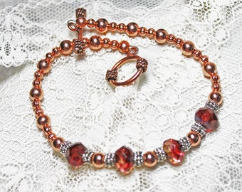 Beaded Bracelet in Copper, Silver, and Cranberry/Amber Picasso Beads - Longer Length - Smooth n Fluted Copper - Silver Plated Rondelles