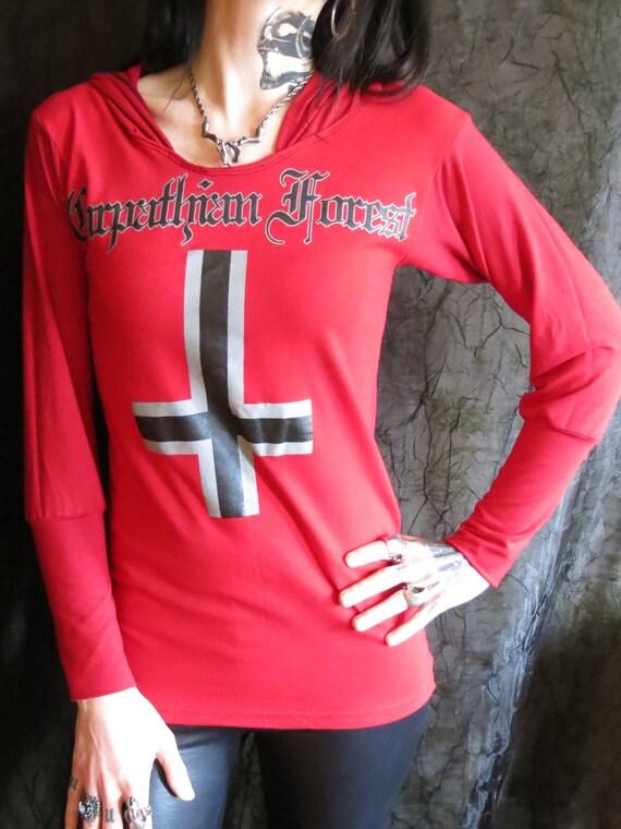 carpathian forest girls red black metal hoodie