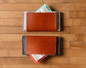 iPhone Wallet - Wool Felt and Brown Leather