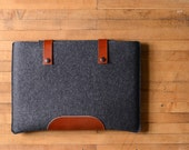 """MacBook Pro Sleeve - Charcoal Felt and Brown Leather Patch, Straps for the New 13"""" MacBook Pro or the New 15"""" MacBook Pro"""