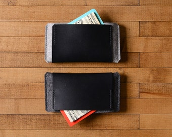 iPhone Wallet - Wool Felt and Black Leather