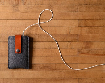 iPhone Case - Charcoal Wool Felt and Brown Leather