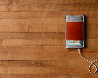 iPhone Case - Grey Felt and Brown Leather Pocket