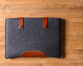 "MacBook Pro Sleeve - Charcoal Felt and Brown Leather Patch, Straps for the New 13"" MacBook Pro or the New 15"" MacBook Pro"