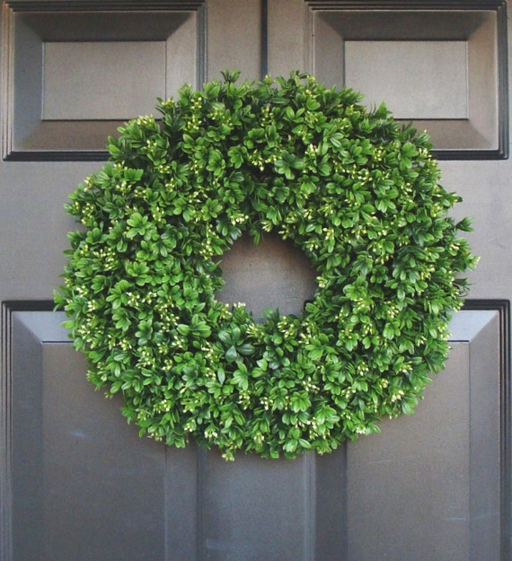 Artificial Boxwood Wreath 16 inch- Front Door Wreaths- Wedding Wreath- Sizes 14 to 30 inch available- Spring Wreath