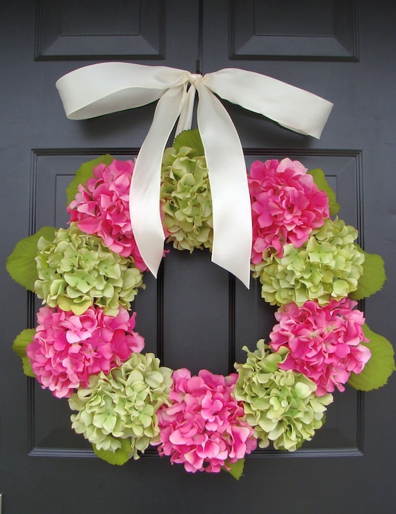 Outdoor Hydrangea Summer Wreath- Custom Hydrangea Wreath- Spring Wreath for Door- Custom Colors