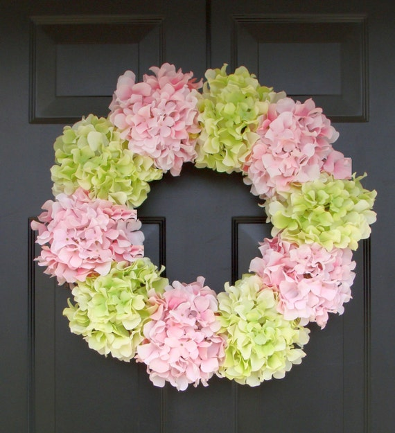 Hydrangea Wreath- Summer Wreath- Shabby Chic Wreath- Custom Colors XL Front Door Wreath- 25 inch Spring Wreath for Door