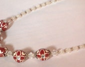Sparkly Frosty Burgundy Necklace, Hand Painted Wood Bead and Frosty Bicone Choker