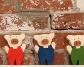 very worldly pigs (set of 3) / modern folk fairy tale pigs