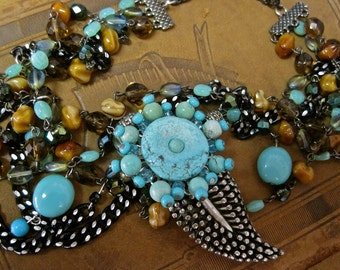 Desert Flower:  Turquoise Necklace Boho Vintage Assemblage Glass Beads Crystals Natural Tones Aqua