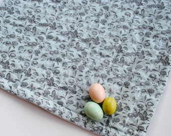 ORGANIC Baby Quilt - Pale Blue Spring Butterflies - Eco Friendly Baby Girls Crib Bedding (Ready to Ship)
