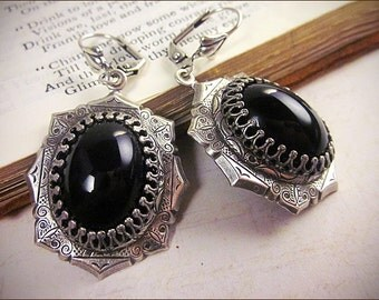Gothic Victorian Earrings, Black Jewel Earrings, Medieval, Renaissance Costume, Ren Faire, SCA Garb, Bridal, MedCol