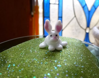 Glass Fairy Garden Accessory, Miniature bunny rabbit, fairy garden accessories, terrarium accessories, fairy garden supply