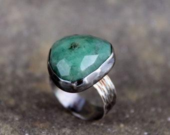 Emerald Ring  -  May Birthstone Ring - Green Gemstone Ring - Rustic Emerald Ring - Sterling Silver Statement Ring
