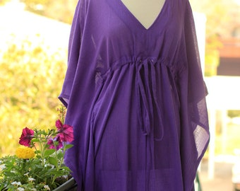Kaftan Maxi Dress - Beach Cover Up Caftan in Purple Cotton Gauze - 20 Colors