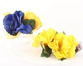 Vintage Millinery Flowers - Vivid Gold and Blue Corsages