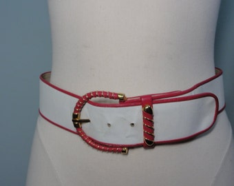 Vintage 80s Belt- Hot Pink, White & Gold Leather Belt- Abbe' Creations Belt- Size M Medium