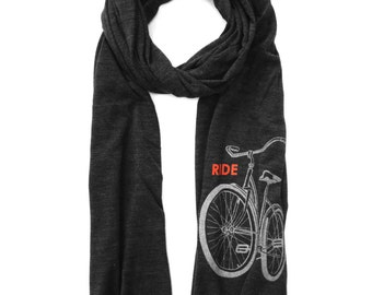 Bike Scarf with Light Reflective print, black bicycle scarf, mens scarf, womens scarf, adult fashion scarves, Ride, Be safe and Be Seen