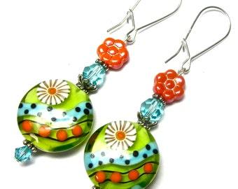 Colorful Bright Earrings Lime Green Earrings Lampwork Earrings Glass Bead Earrings Artisan Earrings Colorful Earrings Glass Earrings