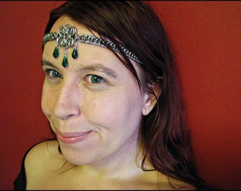 The Aurora Emerald Green Celtic chainmail headband/choker necklace chainmaille crown