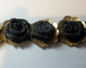 Black Roses Millinery Trim Gold Sequins Applique Style Ribbon By The Yard BTY