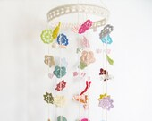 Baby mobile, Stella colourful crochet flower nursery decor, modern folk Merry Mobile - LARGE - (ready to ship)
