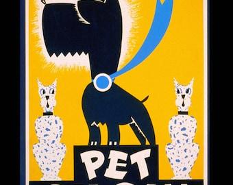 Pet Show - 1930s WPA Poster Art Print - Scotty Dog - Scottish Terrier - Dalmatian - Dog Show - Veterinarian Office Wall Art - Art Deco Print