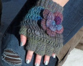 Crochet Half Finger Gloves Steampunk Accesory/ Jewel Tones