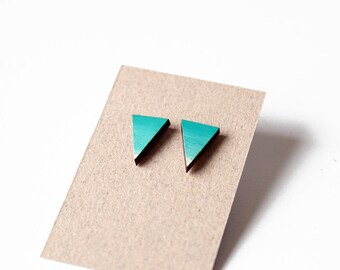 Blue ombre wooden triangle stud earrings - ombre, sky blue and white - minimalist, modern, hand painted eco friendly jewelry