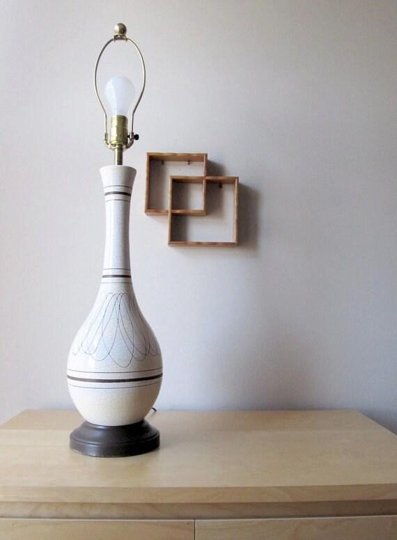 mid century table lamp atomic age design crackle glaze pottery lamp