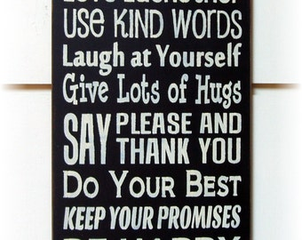 Family Rules typography wood sign