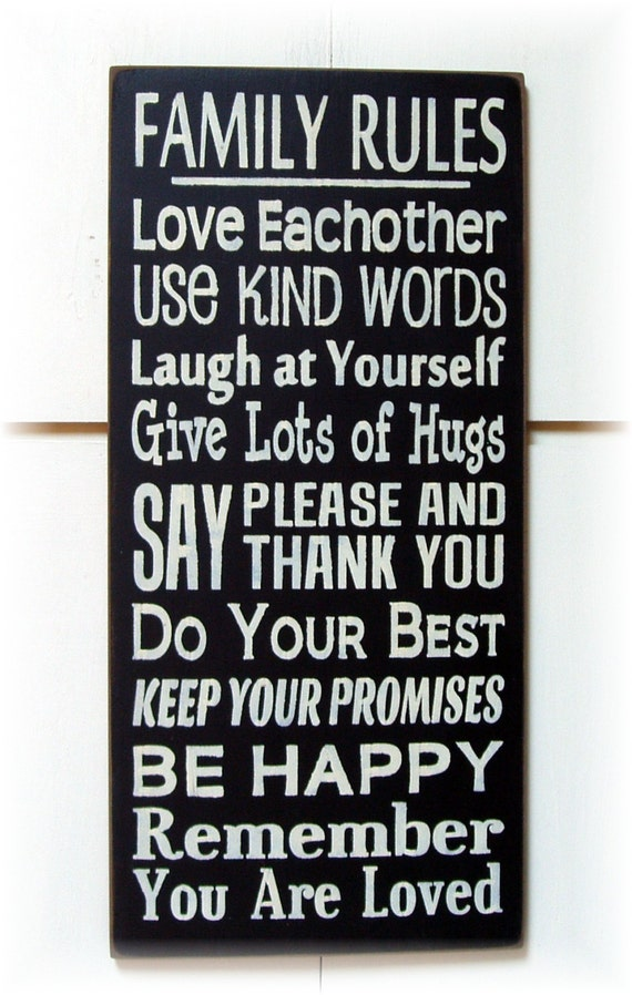 family rules typography wood sign by woodsignsbypatti on etsy