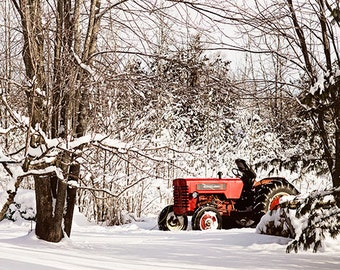 Winter Tractor 8x10 fine art image - country farm photograph winter snow photography red home decor