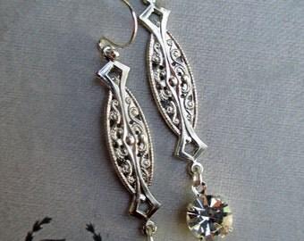 Art Deco Earrings Crystal Rhinestone Bride Bridesmaid Gift ZELDA Crystal