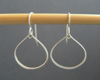 """tiny silver teardrop earrings. sterling silver dangles. small silver drops. everyday simple jewelry. dainty small hoop. delicate. 3/4"""""""