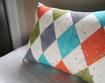 Turquoise harlequin geometric decorative colorful home decor linen pillow cover olive orange metallic silver spatter