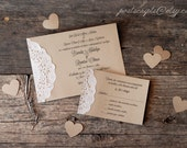 Custom Vintage Lace Doily Wedding Invitation Suite - Script Calligraphy Font - Baby & Bridal Shower  - Engagement - Rustic Shabby Chic Party