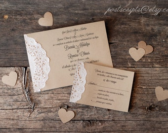 Custom Vintage Lace Doily Wedding Invitations - Script Calligraphy Font  - Baby & Bridal Shower  - Engagement - Rustic Shabby Chic Party