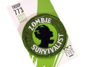 Zombie Survivalist - Modern Merit Badge - Iron On Patch