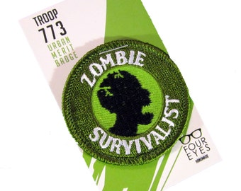 Zombie Survivalist - Modern Merit Badge - Iron On Patch