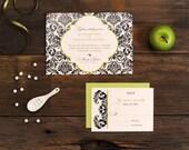 Damask Wedding Invitation - Baroque Pattern Traditional Brocade Elegant Invite