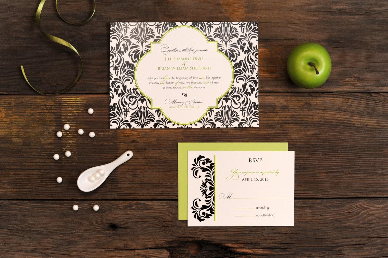 Baroque Wedding Invitations: Damask Wedding Invitation Baroque Pattern Traditional