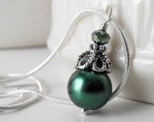 Bridesmaid Necklace, Dark Green Pearl Pendant in Antiqued Silver