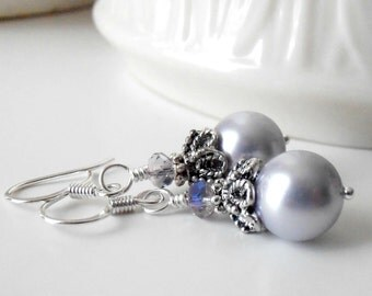Pale Lavender Bridesmaid Earrings, Pearl Dangle Earrings,  Vintage Style Antiqued Silver, Beaded Wedding Sets, Light Lavender Bridal Earring