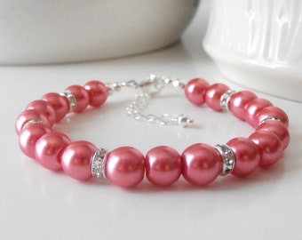 Coral Bridesmaid Bracelets, Pearl and Rhinestone Wedding Bracelets, Pearl Bridesmaid Gift, Coral Pearl Bracelet, Guava
