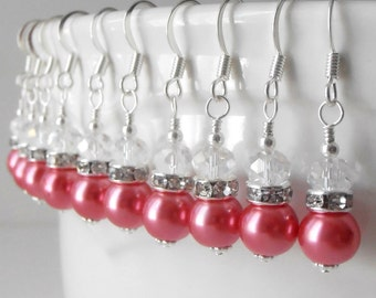 Coral Pearl Earrings, Coral Bridesmaid Jewelry, Pearl and Crystal Dangles, Sterling Silver Hooks, Jr Bridesmaid Gift
