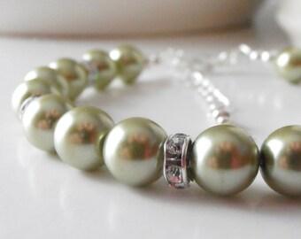 Olive Pearl Bracelet, Beaded Bridesmaid Jewelry Sets, Olive Wedding Jewelry, Swarovski Pearl and Rhinestone Bridesmaid Bracelets, Handmade